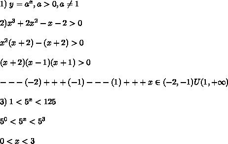 1)\; y=a^{x}, a>0, a\ne 1\\\\2)x^3+2x^2-x-2>0\\\\x^2(x+2)-(x+2)>0\\\\(x+2)(x-1)(x+1)>0\\\\---(-2)+++(-1)---(1)+++x\in (-2,-1)U(1,+\infty)\\\\3)\; 1<5^{x}<125\\\\5^0<5^{x}<5^3\\\\0<x<3