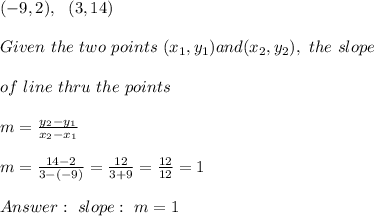 (-9,2), \ \ (3,14) \\ \\Given \ the \ two \ points \ (x _{1}, y _{1}) and (x _{2}, y _{2}), \ the \ slope \\ \\ of \ line \ thru \ the \ points \: \\ \\ m= \frac{y_{2}-y_{1}}{x_{2}-x_{1} } \\ \\m= \frac{ 14-2}{3-(-9) }=\frac{12}{3+9}=\frac{12}{12}= 1\\ \\ Answer : \ slope : \ m=1