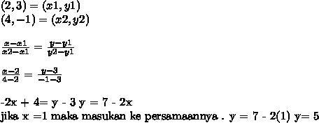 (2,3) = (x1,y1)\\(4,-1) = (x2,y2)\\\\ \frac{x-x1}{x2-x1}= \frac{y-y1}{y2-y1}\\\\\frac{x-2}{4-2}= \frac{y-3}{-1-3}\\-2x + 4= y - 3y = 7 - 2xjika x =1 maka masukan ke persamaannya . y = 7 - 2(1)y= 5