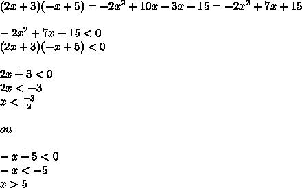 (2x+3)(-x+5) = -2x^2+10x-3x+15=-2x^2+7x+15\\\\-2x^2+7x+15<0\\(2x+3)(-x+5)<0\\\\2x+3<0\\2x<-3\\x< \frac{-3}{2}\\\\ou\\\\-x+5<0\\-x<-5\\x>5