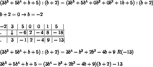 (3b^5+5b^4+b+5):(b+2)=(3b^5+5b^4+0b^3+0b^2+1b+5):(b+2)\\\\b+2=0\to b=-2\\\\\underline{-2 \ \ 3\ \  \ \ 5\  \ 0\  \ \ 0\ \  \ 1\  \ \ 5\ \ \  }\\\underline{\underline{.\ \ \  \ \downarrow\  -6 \ 2\  -4 \ 8\  -18 }}\\.\ \ \  \ \  3\ \  -1 \ 2\  -4 \ 9\  -13 \\\\(3b^5+5b^4+b+5):(b+2)=3b^4-b^3+2b^2-4b+9\ R(-13)\\\\3b^5+5b^4+b+5=(3b^4-b^3+2b^2-4b+9)(b+2)-13