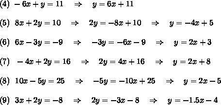 (4)\ -6x + y = 11\ \ \ \Rightarrow\ \ \ y=6x+11\\\\(5)\ \ 8x + 2y = 10\ \ \ \Rightarrow\ \ \ 2y=-8x+10\ \ \ \Rightarrow\ \ \ y=-4x+5\\\\(6)\ \  6x - 3y = -9\ \ \ \Rightarrow\ \ \ -3y=-6x-9\ \ \ \Rightarrow\ \ \ y=2x+3\\\\(7)\ \  -4x + 2y = 16\ \ \ \Rightarrow\ \ \ 2y=4x+16\ \ \ \Rightarrow\ \ \ y=2x+8\\\\(8)\ \  10x - 5y = 25\ \ \ \Rightarrow\ \ \ -5y=-10x+25\ \ \ \Rightarrow\ \ \ y=2x-5\\\\(9)\ \  3x + 2y = -8\ \ \ \Rightarrow\ \ \ 2y=-3x-8\ \ \ \Rightarrow\ \ \ y=-1.5x-4