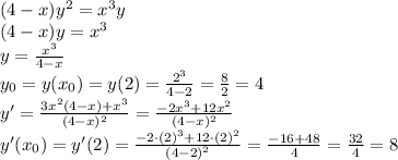(4-x)y^2=x^3y \\(4-x)y=x^3\\y=\frac{x^3}{4-x}\\y_0=y(x_0)=y(2)=\frac{2^3}{4-2}=\frac82=4\\y'=\frac{3x^2(4-x)+x^3}{(4-x)^2}=\frac{-2x^3+12x^2}{(4-x)^2}\\y'(x_0)=y'(2)=\frac{-2\cdot(2)^3+12\cdot(2)^2}{(4-2)^2}=\frac{-16+48}4=\frac{32}4=8