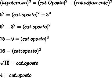 (hipotenusa)^2=(cat.Oposto)^2+(cat.adjascente)^2\\\\5^2=(cat.oposto)^2+3^2\\\\\ 5^2-3^2=(cat.oposto)^2\\\\ 25-9 = (cat.oposto)^2\\\\16=(cat;oposto)^2\\\\ \sqrt{16} =cat.oposto\\\\4=cat.oposto