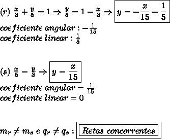 (r) \ \frac{x}{3}+\frac{y}{5}=1 \Rightarrow \frac{y}{5}=1-\frac{x}{3} \Rightarrow \boxed{y= -\frac{x}{15}+\frac{1}{5}}}\\coeficiente \ angular: -\frac{1}{15}\\coeficiente \ linear : \frac{1}{5}\\\\\\(s) \ \frac{x}{5} = \frac{y}{3} \Rightarrow \boxed{y = \frac{x}{15}}\\coeficiente \ angular = \frac{1}{15}\\coeficiente \ linear = 0\\\\\\m_{r} \neq m_{s} \ e \ q_{r} \neq q_{s}: \boxed{\boxed{Retas \ concorrentes}}
