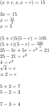 (x+r,x,x-r)=15\\ \\ 3x=15 \\ x= \frac{15}{3} \\ x=5\\ \\ (5+r)5(5-r)=105\\ (5+r)(5-r)= \frac{105}{5} \\ 25-5r+5r-r^2=21\\ 25-21=r^2\\ 4=r^2 \\  \sqrt{4}=r \\ \pm 2=r\\ \\ 5+2=7\\ 5-2=3\\ \\ 7-3=4