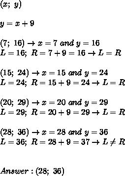 (x;\ y)\\\\y=x+9\\\\(7;\ 16)\to x=7\ and\ y=16\\L=16;\ R=7+9=16\to L=R\\\\(15;\ 24)\to x=15\ and\ y=24\\L=24;\ R=15+9=24\to L=R\\\\(20;\ 29)\to x=20\ and\ y=29\\L=29;\ R=20+9=29\to L=R\\\\(28;\ 36)\to x=28\ and\ y=36\\L=36;\ R=28+9=37\to L\neq R\\\\\\Answer:(28;\ 36)