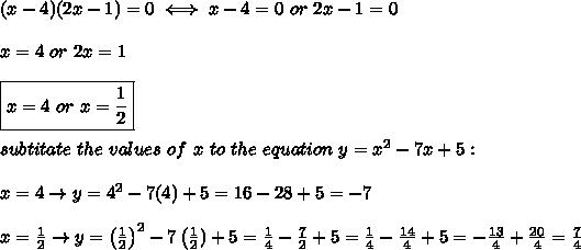 (x-4)(2x-1)=0\iff x-4=0\ or\ 2x-1=0\\\\x=4\ or\ 2x=1\\\\\boxed{x=4\ or\ x=\frac{1}{2}}\\\\subtitate\ the\ values\ of\ x\ to\ the\ equation\ y=x^2-7x+5:\\\\x=4\to y=4^2-7(4)+5=16-28+5=-7\\\\x=\frac{1}{2}\to y=\left(\frac{1}{2}\right)^2-7\left(\frac{1}{2})+5=\frac{1}{4}-\frac{7}{2}+5=\frac{1}{4}-\frac{14}{4}+5=-\frac{13}{4}+\frac{20}{4}=\frac{7}{4}
