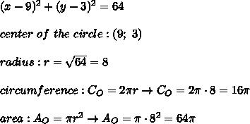 (x-9)^2+(y-3)^2=64\\\\center\ of\ the\ circle:(9;\ 3)\\\\radius:r=\sqrt{64}=8\\\\circumference:C_O=2\pi r\to C_O=2\pi\cdot8=16\pi\\\\area:A_O=\pi r^2\to A_O=\pi\cdot8^2=64\pi