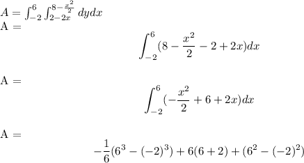 \[A =\int_{-2}^{6} \int_{2-2x}^{8-\frac{x^2}{2}} dydx\]\\A =\[\int_{-2}^{6} (8-\frac{x^2}{2}-2+2x) dx\] \\A =\[\int_{-2}^{6} (-\frac{x^2}{2}+6+2x) dx\] \\A =\[-\frac{1}{6}(6^3 - (-2)^3)+6(6+2)+(6^2-(-2)^2)\]\\