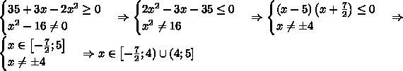 \\\begin{cases}35+3x-2x^2\geq0\\x^2-16\neq0\end{cases}\Rightarrow\begin{cases}2x^2-3x-35\leq0\\x^2\neq16\end{cases}\Rightarrow\begin{cases}(x-5)\left(x+\frac72\right)\leq0\\x\neq\pm4\end{cases}\Rightarrow\begin{cases}x\in\left[-\frac72;5\right]\\x\neq\pm4\end{cases}\Rightarrow x\in\left[-\frac72;4)\cup(4;5]