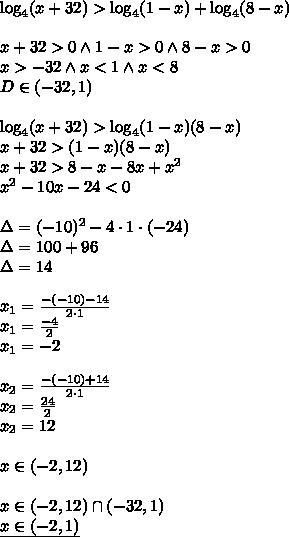 \\\log_4(x+32) > \log_4(1-x) + \log_4(8-x)\\\\ x+32>0 \wedge 1-x >0 \wedge 8-x>0\\ x>-32\wedge x<1 \wedge x<8\\ D\in(-32,1)\\\\ \log_4(x+32) > \log_4(1-x)(8-x)\\ x+32>(1-x)(8-x)\\ x+32>8-x-8x+x^2\\ x^2-10x-24<0\\\\ \Delta = (-10)^2-4\cdot 1\cdot (-24)\\ \Delta=100+96\\ \Delta=14\\\\ x_1=\frac{-(-10)-14}{2\cdot 1}\\ x_1=\frac{-4}{2}\\ x_1=-2\\\\ x_2=\frac{-(-10)+14}{2\cdot 1}\\ x_2=\frac{24}{2}\\ x_2=12\\\\ x\in(-2,12)\\\\ x\in(-2,12)\cap(-32,1)\\ \underline{x\in(-2,1)}