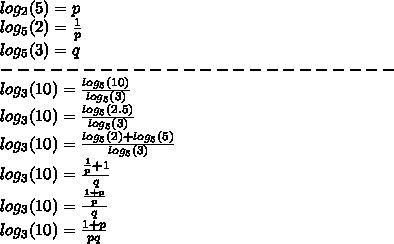 \\log_2(5) = p\\log_5(2) = \frac{1}{p}\\log_5(3) = q\\------------------------\\log_3(10) = \frac{log_5(10)}{log_5(3)}\\log_3(10) = \frac{log_5(2.5)}{log_5(3)}\\log_3(10) = \frac{log_5(2) + log_5(5)}{log_5(3)}\\log_3(10) = \frac{\frac{1}{p}+1}{q}}\\log_3(10) = \frac{\frac{1+p}{p}}{q}}\\log_3(10) = \frac{1+p}{pq}}