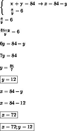\begin{cases} & \text{ x + y = 84 } \to x = 84 - y  \\  & \text{  }    \frac{x}{y} = 6\end{cases}\\\\ \frac{x}{y} = 6\\\\ \frac{84 - y}{y} = 6\\\\6y = 84 - y\\\\7y = 84\\\\y =   \frac{84}{7} \\\\\boxed{y = 12}\\\\x = 84 - y\\\\x = 84 - 12\\\\\boxed{x = 72}\\\\\boxed{x = 72;y = 12}
