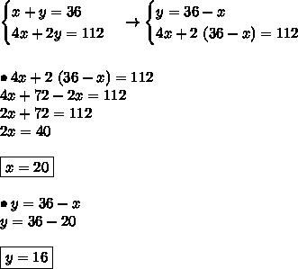 \begin{cases}x + y = 36 \\4x + 2y = 112 \\\end{cases}\rightarrow \begin{cases}y = 36 - x \\4x + 2 \ (36 - x) = 112 \\\end{cases} \\\\  \\ \bullet 4x + 2 \ (36 - x) = 112 \\ 4x + 72 - 2x = 112 \\ 2x + 72 = 112 \\ 2x = 40 \\\\ \boxed{x = 20} \\\\ \bullet y = 36 - x \\ y = 36 - 20 \\\\ \boxed{y = 16}