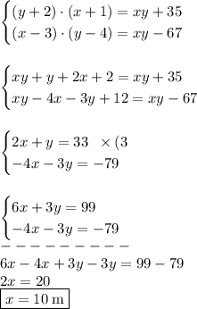 \begin{cases}(y+2)\cdot(x+1)=xy+35\\(x-3)\cdot(y-4)=xy-67\end{cases}\\\\\\\begin{cases}xy+y+2x+2=xy+35\\xy-4x-3y+12=xy-67\end{cases}\\\\\\\begin{cases}2x+y=33\;\;\times(3\\-4x-3y=-79\end{cases}\\\\\\\begin{cases}6x+3y=99\\-4x-3y=-79\end{cases}\\---------\\6x-4x+3y-3y=99-79\\2x=20\\\boxed{x=10\;\text{m}}