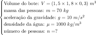 \begin{cases} \text{Volume do bote: }V=(1,5 \times 1,8 \times 0,3)\ m^3\\ \text{massa das pessoas: }m=70\ kg\\ \text{acelera\c{c}\~ao da gravidade: }g = 10\ m/s\²\\ \text{densidade da \'agua: }\mu=1000\ kg/m\³\\ \text{n\'umero de pessoas: }n=? \end{cases}