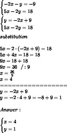 \begin{cases} -2x-y=-9 \\ 5x-2y=18  \end{cases}\\\\ \begin{cases} y=-2x+9 \\ 5x-2y=18  \end{cases}\\\\substitution \\\\ 5x-2 \cdot (-2x+9)=18 \\5x+4x-18=18 \\9x-18+18\\9x=36\ \ /:9\\x=\frac{36}{9}\\x=4\\=================\\y=-2x+9 \\y=-2 \cdot 4+9 =-8+9=1\\ \\Answer:\\\\\begin{cases} x=4 \\ y=1  \end{cases}