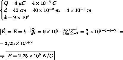 \begin{cases} Q=4\ \mu C=4 \times 10^{-6}\ C\\ d=40\ cm=40 \times 10^{-2}\ m=4 \times 10^{-1}\ m\\ k=9 \times 10^9 \end{cases} \\\\\\ |\vec E|=E=k \cdot \frac{|Q|}{d^2}=9 \times 10^9 \cdot \frac{4 \times 10^{-6}}{16 \times 10^{-2}}=\frac94\times10^{9-6-(-2)}=\\\\=2,25\times10^{3+2}\\\\ \Rightarrow \boxed{E=2,25\times10^5\ N/C}