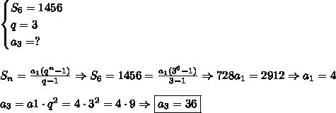 \begin{cases} S_6=1456\\ q=3\\ a_3=? \end{cases}\\\\\\ S_n=\frac{a_1(q^n-1)}{q-1} \Rightarrow S_6=1456=\frac{a_1(3^6-1)}{3-1} \Rightarrow 728a_1=2912 \Rightarrow a_1=4\\\\ a_3=a1\cdot q^2=4\cdot 3^2=4\cdot 9 \Rightarrow \boxed{a_3=36}