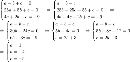 \begin{cases} a-b+c=0\\25a+5b+c=0\\4a+2b+c=-9\end{cases}\Rightarrow\begin{cases} a=b-c\\25b-25c+5b+c=0\\4b-4c+2b+c=-9\end{cases}\Rightarrow\\\Rightarrow\begin{cases} a=b-c\\30b-24c=0\\6b-3c=-9\end{cases}\Rightarrow\begin{cases} a=b-c\\5b-4c=0\\c=2b+3\end{cases}\Rightarrow\begin{cases} a=b-c\\5b-8c-12=0\\c=2b+3\end{cases}\\\Rightarrow\begin{cases} a=1\\b=-4\\c=-5\end{cases}