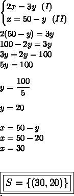 \begin{cases}2x=3y~~(I)\\x=50-y~~(II)\end{cases}\\\\2(50-y)=3y\\100-2y=3y\\3y+2y=100\\5y=100\\\\y= \dfrac{100}{5}\\\\y=20\\\\x=50-y\\x=50-20\\x=30\\\\\\ \large\boxed{\boxed{S=\{(30,20)\}}}\\.