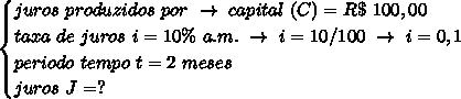 \begin{cases}juros~produzidos~por~\to~capital~(C)=R\$~100,00\\taxa~de~juros~i=10\%~a.m.~\to~i=10/100~\to~i=0,1\\periodo~tempo~t=2~meses\\juros~J=?\end{cases}