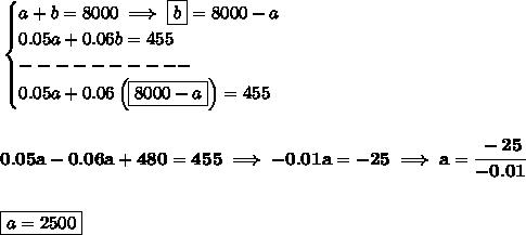 \bf \begin{cases}a+b=8000\implies \boxed{b}=8000-a\\0.05a+0.06b=455\\----------\\0.05a+0.06\left( \boxed{8000-a} \right)=455\end{cases}\\\\\\0.05a-0.06a+480=455\implies -0.01a=-25\implies a=\cfrac{-25}{-0.01}\\\\\\\boxed{a=2500}