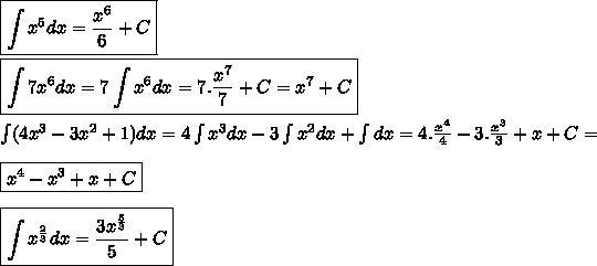 \boxed{\int x^5dx=\frac{x^6}{6}+C} \\\\\boxed{\int 7x^6 dx=7 \int x^6 dx=7.\frac{x^7}{7}+C=x^7+C  }\\\\\int (4x^3-3x^2+1) dx=4 \int x^3 dx-3 \int x^2 dx + \int dx=4.\frac{x^4}{4}-3.\frac{x^3}{3}+x+C= \\\\\boxed{x^4-x^3+x+C  }\\\\\boxed{\int x^{\frac{2}{3}} dx=\frac{3x^{\frac{5}{3}}}{5}+C}