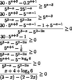 \dfrac{30\cdot5^{x+3}-0.2^{x+1}}{5^{3-x}-25^{1-x}}\ge5^{x-3}\\ \dfrac{30\cdot5^{x+3}-5^{-x-1}}{5^{3-x}-5^{2-2x}}\ge5^{x-3}\\ \dfrac{30\cdot5^{x+3}-5^{-x-1}-1+5^{-x-1}}{5^{3-x}-5^{2-2x}}\ge0\\ \dfrac{30\cdot5^{x+3}-1}{5^{3-x}-5^{2-2x}}\ge0\\ \dfrac{5^{x+4}-\frac16}{5^{3-x}-5^{2-2x}}\ge0\\ \dfrac{5^{x+4}-5^{-\log_56}}{5^{3-x}-5^{2-2x}}\ge0\\ \dfrac{x+4+\log_56}{(3-x)-(2-2x)}\ge0\\