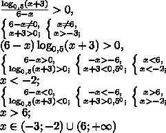 \frac{\log_{0,5}(x+3)}{6-x}>0, \\ \left \{ {{6-x\neq0,} \atop {x+3>0;}} \right. \left \{ {{x\neq6,} \atop {x>-3;}} \right. \\ (6-x)\log_{0,5}(x+3)>0, \\ \left \{ {{6-x>0,} \atop {\log_{0,5}(x+3)>0;}} \right. \left \{ {{-x>-6,} \atop {x+3<0,5^0;}} \right. \left \{ {{x<6,} \atop {x<-2;}} \right. \\ x<-2; \\ \left \{ {{6-x<0,} \atop {\log_{0,5}(x+3)<0;}} \right. \left \{ {{-x<-6,} \atop {x+3>0,5^0;}} \right. \left \{ {{x>6,} \atop {x>-2;}} \right. \\ x>6; \\ x\in(-3;-2)\cup(6;+\infty)