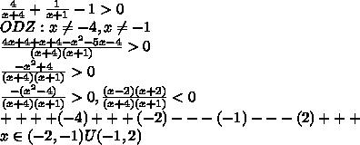 \frac{4}{x+4}+\frac{1}{x+1}-1>0\\ODZ:x\ne -4,x\ne -1\\\frac{4x+4+x+4-x^2-5x-4}{(x+4)(x+1)}>0\\\frac{-x^2+4}{(x+4)(x+1)}>0\\\frac{-(x^2-4)}{(x+4)(x+1)}>0,\frac{(x-2)(x+2)}{(x+4)(x+1)}<0\\+ + + +(-4) + + + (-2) - - -  (-1) - - -  (2) + + + \\ x\in (-2,-1)U(-1,2)