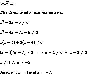 \frac{x-3}{x^2-2x-8}\\\\The\ denominator\ can\ not\ be\ zero.\\\\x^2-2x-8\neq0\\\\x^2-4x+2x-8\neq0\\\\x(x-4)+2(x-4)\neq0\\\\(x-4)(x+2)\neq0\iff x-4\neq0\ \wedge\ x+2\neq0\\\\x\neq4\ \wedge\ x\neq-2\\\\Answer:x=4\ and\ x=-2.