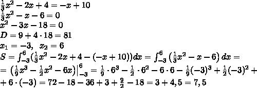 \frac13x^2-2x+4=-x+10\\frac13x^2-x-6=0\x^2-3x-18=0\D=9+4\cdot18=81\x_1=-3,\;\;x_2=6\S=\int_{-3}^6(\frac13x^2-2x+4-(-x+10))dx=\int_{-3}^6\left(\frac13x^2-x-6\right)dx=\=\left.\left(\frac19x^3-\frac12x^2-6x\right)\right|_{-3}^6=\frac19\cdot6^3-\frac12\cdot6^2-6\cdot6-\frac19(-3)^3+\frac12(-3)^2+\+6\cdot(-3)=72-18-36+3+\frac92-18=3+4,5=7,5