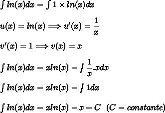 \int ln(x)dx=\int 1\times ln(x)dx\\\\u(x)=ln(x)\Longrightarrow u'(x)=\dfrac{1}{x}\\\\v'(x)=1\Longrightarrow v(x)=x\\\\\int ln(x)dx=xln(x)-\int\dfrac{1}{x}.xdx\\\\\int ln(x)dx=xln(x)-\int1dx\\\\\int ln(x)dx=xln(x)-x+C\ \ (C=constante)