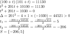 \left(100+t\right)\left(101+t\right) = 11130\