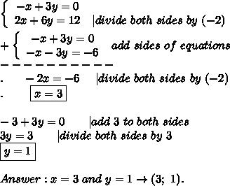 \left\{\begin{array}{ccc}-x+3y=0\\2x+6y=12&|divide\ both\ sides\ by\ (-2)\end{array}\right\\\\+\left\{\begin{array}{ccc}-x+3y=0\\-x-3y=-6\end{array}\right\ add\ sides\ of\ equations\\----------\\.\ \ \ \ \ -2x=-6\ \ \ \ |divide\ both\ sides\ by\ (-2)\\.\ \ \ \ \ \ \ \boxed{x=3}\\\\-3+3y=0\ \ \ \ \ \ |add\ 3\ to\ both\ sides\\3y=3\ \ \ \ \ \ |divide\ both\ sides\ by\ 3\\\boxed{y=1}\\\\Answer:x=3\ and\ y=1\to(3;\ 1).
