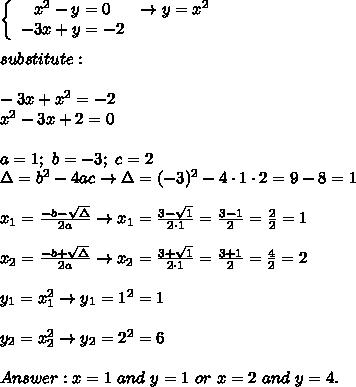 \left\{\begin{array}{ccc}x^2-y=0&\to y=x^2\\-3x+y=-2\end{array}\right\\\\substitute:\\\\-3x+x^2=-2\\x^2-3x+2=0\\\\a=1;\ b=-3;\ c=2\\\Delta=b^2-4ac\to\Delta=(-3)^2-4\cdot1\cdot2=9-8=1\\\\x_1=\frac{-b-\sqrt\Delta}{2a}\to x_1=\frac{3-\sqrt1}{2\cdot1}=\frac{3-1}{2}=\frac{2}{2}=1\\\\x_2=\frac{-b+\sqrt\Delta}{2a}\to x_2=\frac{3+\sqrt1}{2\cdot1}=\frac{3+1}{2}=\frac{4}{2}=2\\\\y_1=x_1^2\to y_1=1^2=1\\\\y_2=x_2^2\to y_2=2^2=6\\\\Answer:x=1\ and\ y=1\ or\ x=2\ and\ y=4.