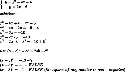 \left\{\begin{array}{ccc}y=x^2-4x+4\\y=2x-6\end{array}\right\\\\subtitute:\\\\x^2-4x+4=2x-6\\x^2-4x-2x=-6-4\\x^2-6x=-10\\x^2-2x\cdot3=-10\\x^2-2x\cdot3+3^2=-10+3^2\\\\use\ (a-b)^2=a^2-2ab+b^2\\\\(x-3)^2=-10+9\\(x-3)^2=-1-FALSE\\(x-3)^2=-1-FALSE\ (the\ square\ of\ any\ number\ is\ non-negative)