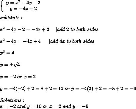 \left\{\begin{array}{ccc}y=x^2-4x-2\\y=-4x+2\end{array}\right\\\\subtitute:\\\\x^2-4x-2=-4x+2\ \ \ \ |add\ 2\ to\ both\ sides\\\\x^2-4x=-4x+4\ \ \ \ \ |add\ 4x\ to\ both\ sides\\\\x^2=4\\\\x=\pm\sqrt4\\\\x=-2\ or\ x=2\\\\y=-4(-2)+2=8+2=10\ or\ y=-4(2)+2=-8+2=-6\\\\Solutions:\\x=-2\ and\ y=10\ or\ x=2\ and\ y=-6