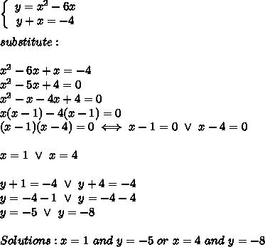 \left\{\begin{array}{ccc}y=x^2-6x\\y+x=-4\end{array}\right\\\\substitute:\\\\x^2-6x+x=-4\\x^2-5x+4=0\\x^2-x-4x+4=0\\x(x-1)-4(x-1)=0\\(x-1)(x-4)=0\iff x-1=0\ \vee\ x-4=0\\\\x=1\ \vee\ x=4\\\\y+1=-4\ \vee\ y+4=-4\\y=-4-1\ \vee\ y=-4-4\\y=-5\ \vee\ y=-8\\\\Solutions:x=1\ and\ y=-5\ or\ x=4\ and\ y=-8