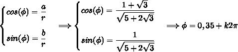 \left\{\begin{matrix}cos(\phi)=\dfrac{a}{r} \\\\sin(\phi)=\dfrac{b}{r} \end{matrix}\right.\ \ \ \Longrightarrow\left\{\begin{matrix}cos(\phi)=\dfrac{1+\sqrt{3}}{\sqrt{5+2\sqrt{3}}} \\\\sin(\phi)=\dfrac{1}{\sqrt{5+2\sqrt{3}}} \end{matrix}\right.\ \ \ \Longrightarrow\phi=0,35+k2\pi