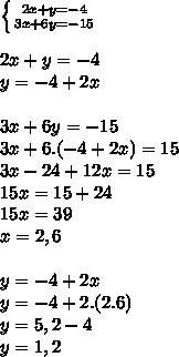 \left \{ {{2x + y = - 4} \atop {3x + 6y = -15}} \right.  \\  \\ 2x + y = -4 \\ y = -4 + 2x \\  \\ 3x + 6y = - 15 \\ 3x + 6.(-4 + 2x) = 15 \\ 3x - 24 + 12x = 15 \\ 15x = 15 + 24 \\ 15x = 39 \\ x = 2,6 \\  \\ y = -4 + 2x \\ y = -4 + 2.(2.6) \\ y = 5,2 - 4 \\ y = 1,2