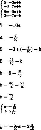 \left \{ {{5=-3a+b} \atop {-2=7a+b}} \right.\\ \left \{ {{5=-3a+b} \atop {2=-7a-b}} \right.\\\\ 7=-10a\\\\ a=-\frac{7}{10}\\\\ 5=-3*(-\frac{7}{10})+b\\\\ 5=\frac{21}{10}+b\\\\ b=5-\frac{21}{10}\\\\ b=\frac{50}{10}-\frac{21}{10}\\\\ b=\frac{29}{10}\\\\ \left \{ {{a=-\frac{7}{10}} \atop {b=2\frac{9}{10}} \right. \\\\\\ y=-\frac{7}{10}x+2\frac{9}{10}