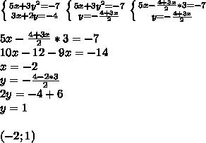 \left \{ {{5x+3y^2=-7} \atop {3x+2y=-4}} \right \left \{ {{5x+3y^2=-7} \atop {y=-\frac{4+3x}{2}}} \right\left \{ {{5x-\frac{4+3x}{2}*3=-7} \atop {y=-\frac{4+3x}{2}}} \right.\\\\5x-\frac{4+3x}{2}*3=-7\\10x-12-9x=-14\\x=-2\\y=-\frac{4-2*3}{2}\\2y=-4+6\\y=1\\\\(-2;1)