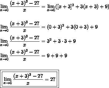 limite tende a 0 , calcule (x+3)³ -27/x - Brainly.com.br