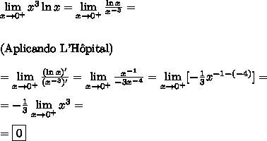 \lim\limits_{x\to0^{+}}x\³\ln x=\lim\limits_{x\to0^{+}}\frac{\ln x}{x^{-3}}=\\\\\\\text{(Aplicando L'H\^opital)}\\\\\=\lim\limits_{x\to0^{+}}\frac{(\ln x)'}{(x^{-3})'}=\lim\limits_{x\to0^{+}}\frac{x^{-1}}{-3x^{-4}}=\lim\limits_{x\to0^{+}}[-\frac13x^{-1-(-4)}]=\\\\=-\frac13\lim\limits_{x\to0^{+}}x^{3}=\\\\=\boxed{0}