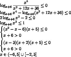 \log_{x+6}\dfrac{x^4}{x^2+12x+36}\le0\\ \log_{x+6}x^4-\log_{x+6}(x^2+12x+36)\le0\\ 2\log_{x+6}x^2-2\le0\\ \log_{x+6}x^2\le1\\ \begin{cases}(x^2-x-6)(x+5)\le0\\ x+6>0\end{cases}\\ \begin{cases}(x-3)(x+2)(x+5)\le0\\ x+6>0\end{cases}\\ x\in(-6,5]\cup[-2,3]