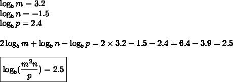 \log_b m=3.2 \\ \log_b n=-1.5 \\ \log_b p=2.4 \\ \\2 \log_b m+\log_b n - \log_b p=2 \times 3.2-1.5-2.4=6.4-3.9=2.5 \\ \\\boxed{\log_b (\frac{m^2n}{p})=2.5}