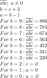 \overline{abc};~a \neq 0 \